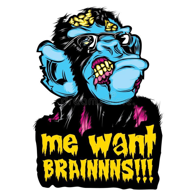 """Autoadesivo variopinto di Halloween della cultura pop dello scimpanzé della scimmia dello zombie """"me volere BRAINNNS!!! """" illustrazione di stock"""