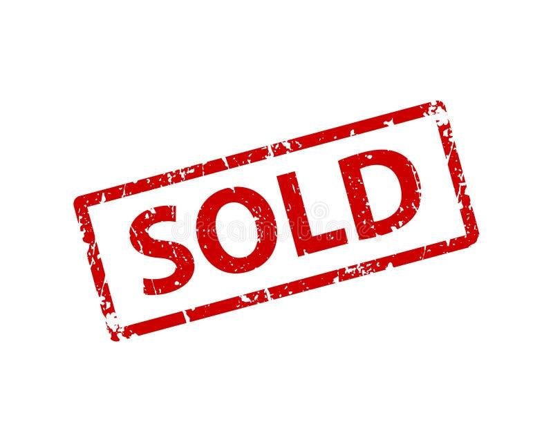 Autoadesivo venduto del segno Struttura di vettore del bollo royalty illustrazione gratis