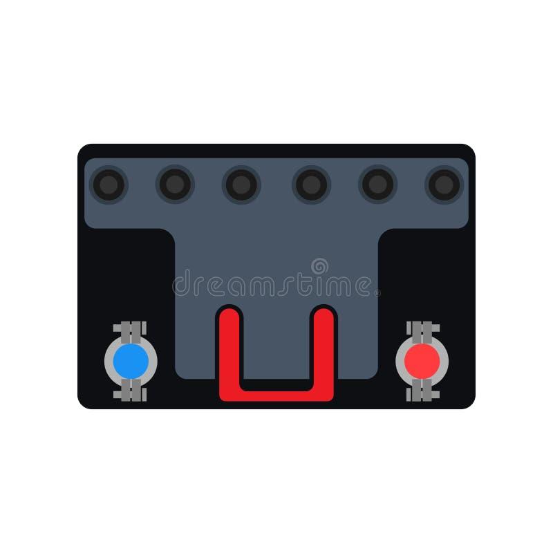Autoakkumulatorbatterie-Vektorikone Flaches Service-Fahrzeug der Selbstmaschine Mechanikerdiagnosetreibstoffbewegungsgaragenwerkz lizenzfreie abbildung