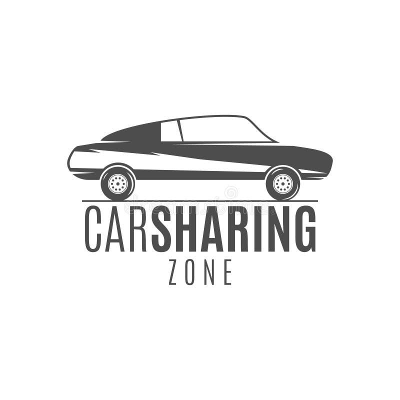 Autoanteil-Logodesign Carsharing- Konzept Kollektivverwendung von Autos über Web-Anwendung Carsharing- Ikone, Automiete lizenzfreie abbildung