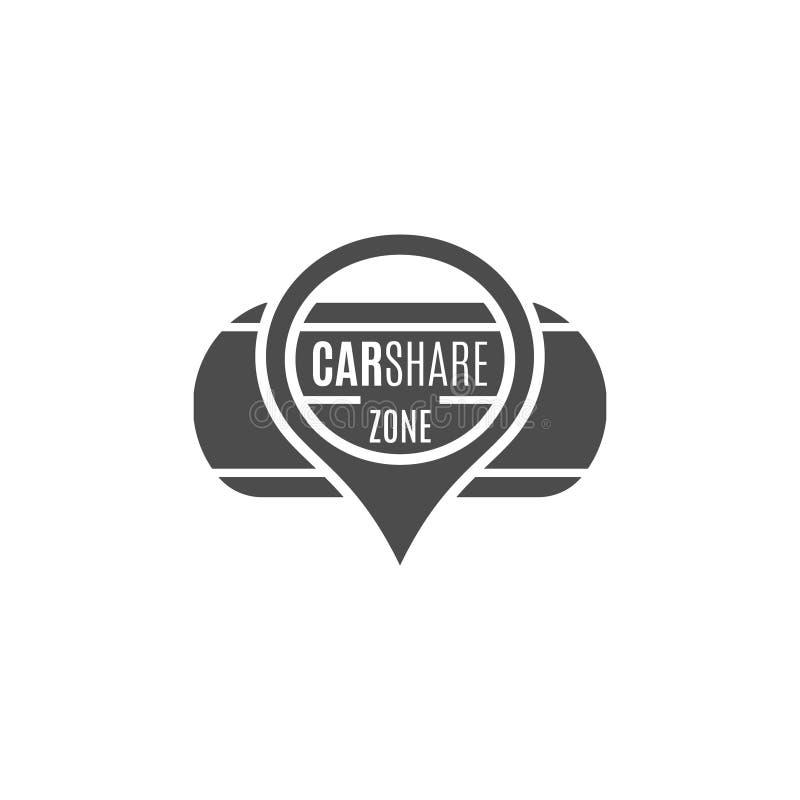 Autoanteil-Logodesign Carsharing- Konzept Kollektivverwendung von Autos über Web-Anwendung Carsharing- Ikone, Automiete vektor abbildung