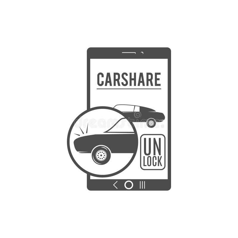 Autoanteil-Logodesign Carsharing- Vektorkonzept Kollektivverwendung von Autos über Web-Anwendung Carsharing- Ikone, Auto lizenzfreie abbildung