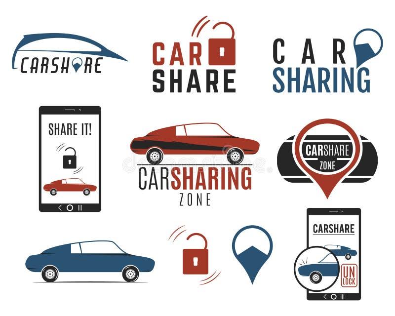 Autoanteil-Logodesigne eingestellt Carsharing- Vektorkonzepte Kollektivverwendung von Autos über Web-Anwendung Carsharing- Ikonen lizenzfreie abbildung