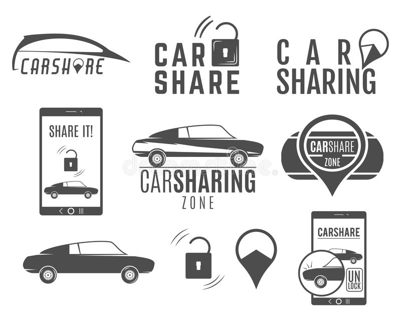 Autoanteil-Logodesigne eingestellt Carsharing- Vektorkonzepte Kollektivverwendung von Autos über Web-Anwendung Carsharing- Ikonen stock abbildung