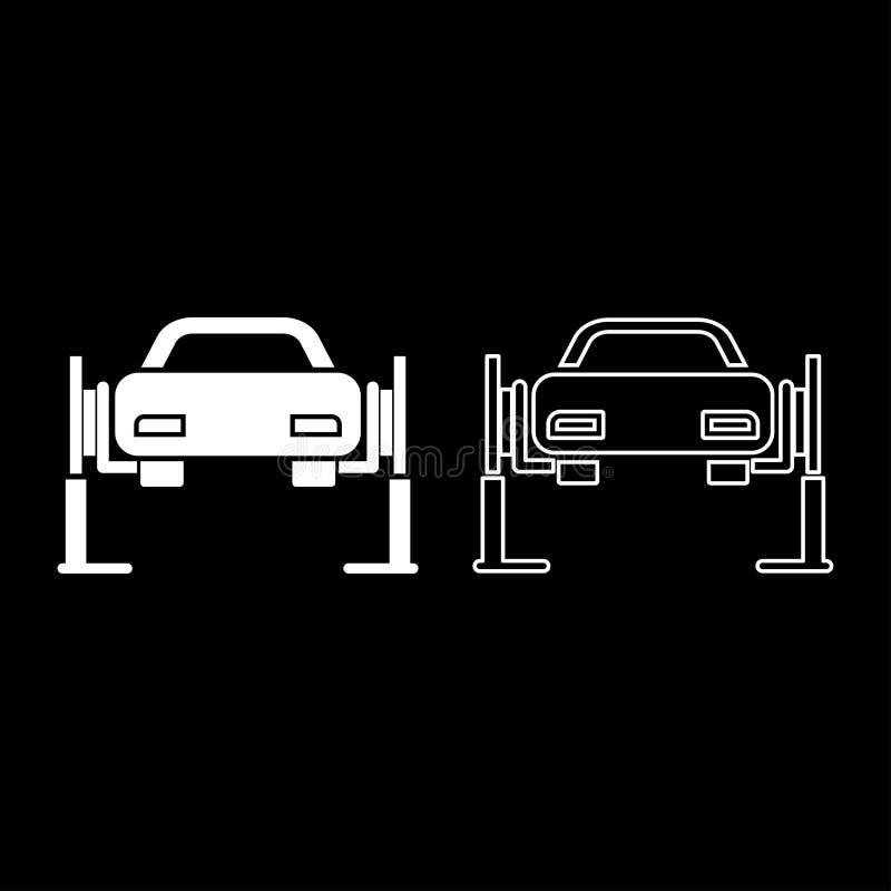 Autoaufzug Autoreparatur Servicekonzept-Auto auf Verlegenheitsaufzug Auto, das auf Selbstaufzugikonenentwurf angehoben wurde, ste vektor abbildung