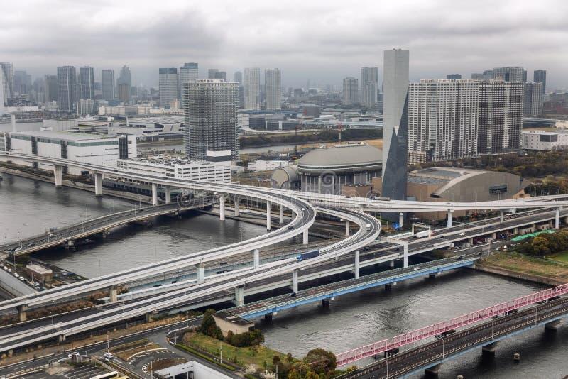 Autoaustausch in einer Großstadt, Draufsicht lizenzfreie stockfotografie