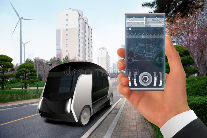 Autobús autónomo futurista imágenes de archivo libres de regalías