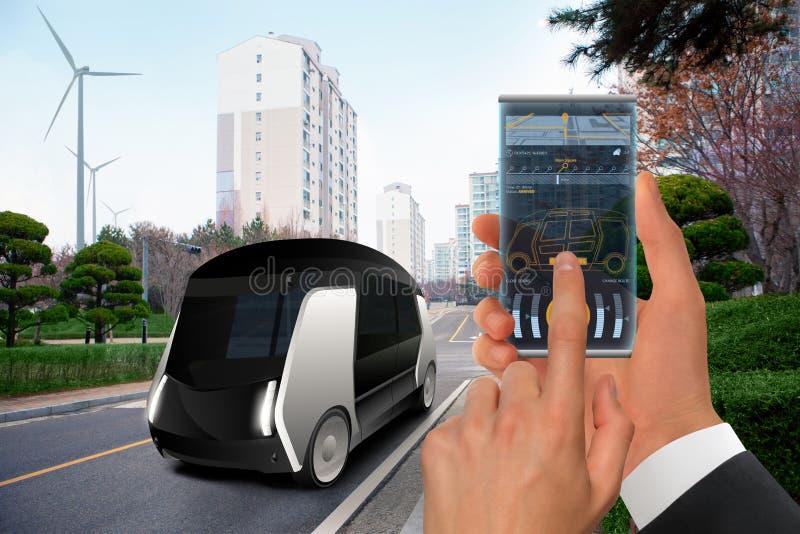 Autobús autónomo futurista fotografía de archivo libre de regalías