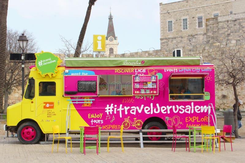 Autobús colorido de la información turística, Jerusalén, Israel fotos de archivo