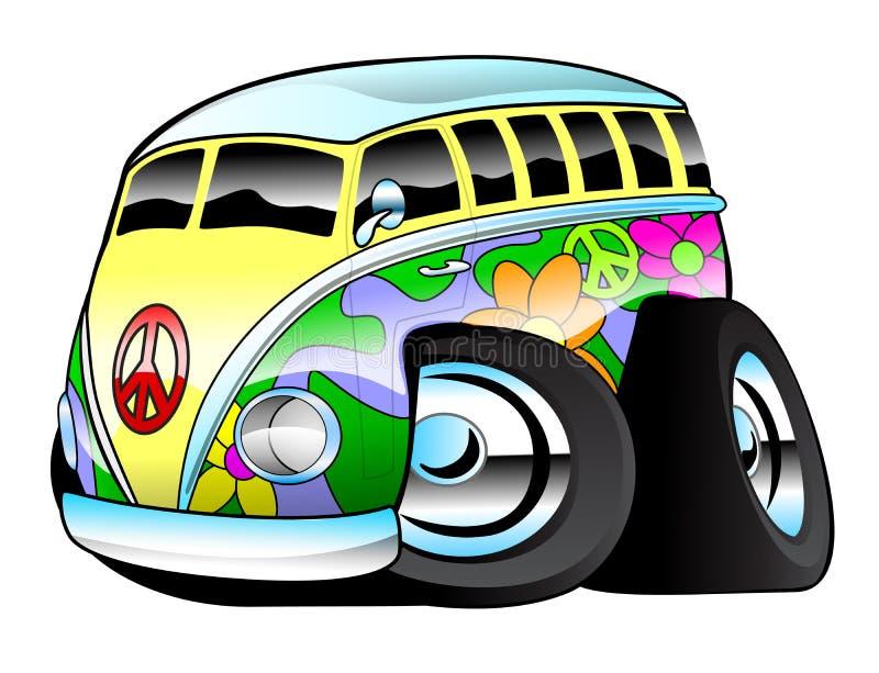 Autobús colorido de la persona que practica surf del hippie ilustración del vector