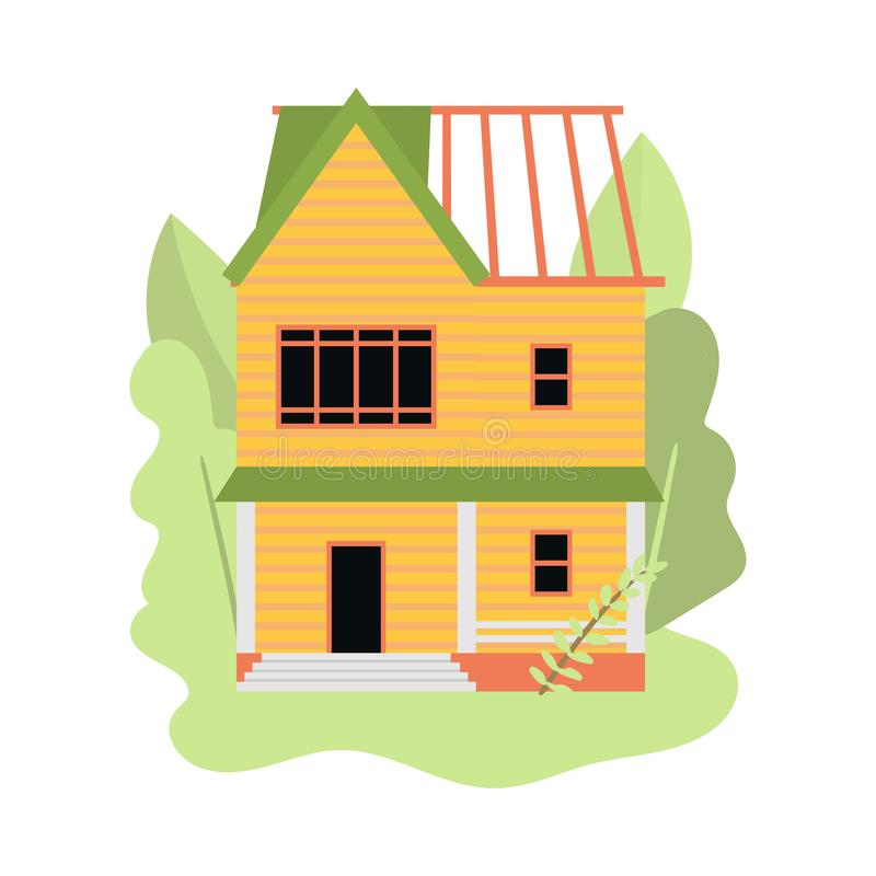 Autobús de dos pisos de la casa de madera bajo construcción en pueblo libre illustration