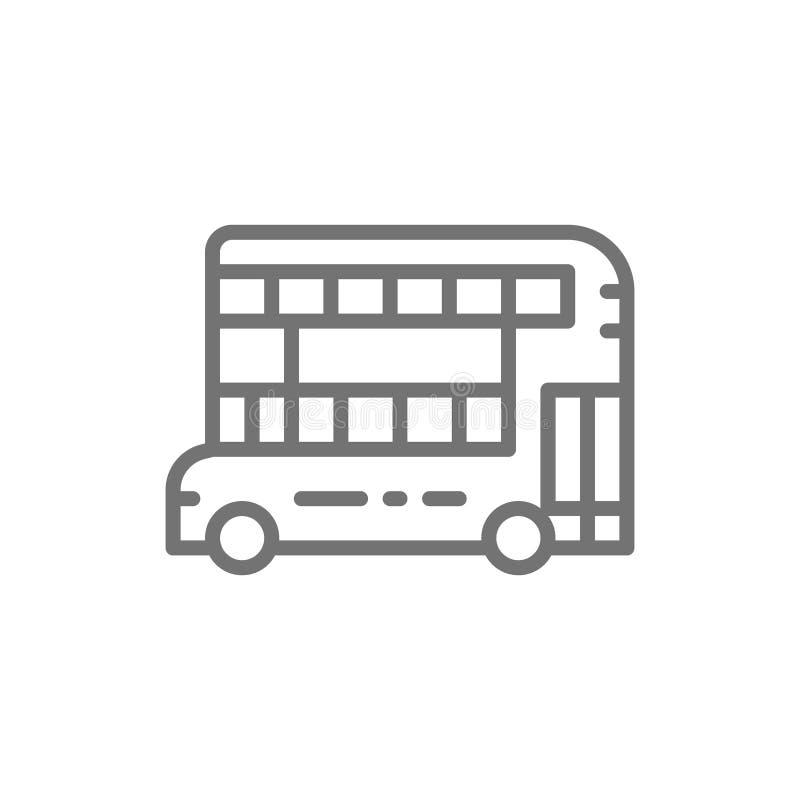 Autobús de dos plantas de Londres, línea de transporte público tradicional icono ilustración del vector