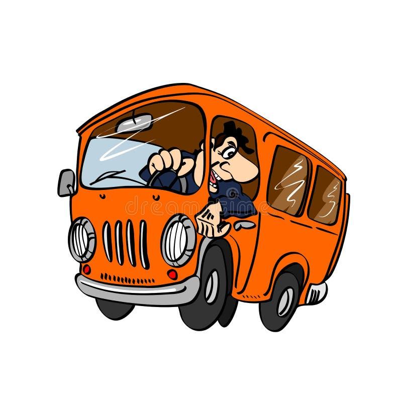 Autobús de la historieta con un conductor ilustración del vector