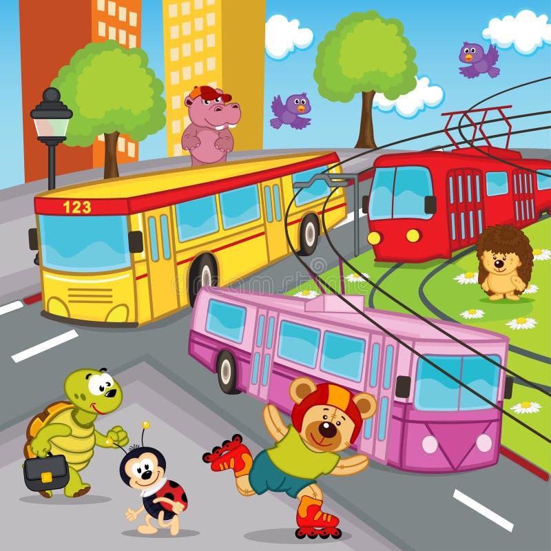 Autobús de la tranvía del trolebús de los animales stock de ilustración