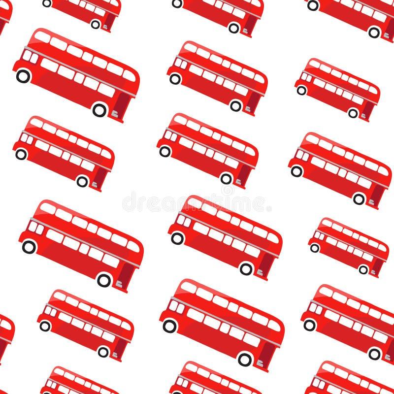 Autobús de Londres Modelo inconsútil Ejemplo de un autobús de dos pisos rojo stock de ilustración