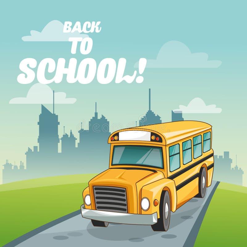 Autobús de nuevo a diseño de la escuela ilustración del vector