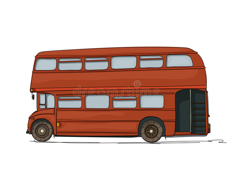 Autobús del autobús de dos pisos stock de ilustración