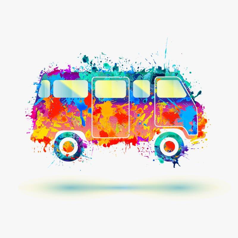 Autobús del campista del hippie ilustración del vector