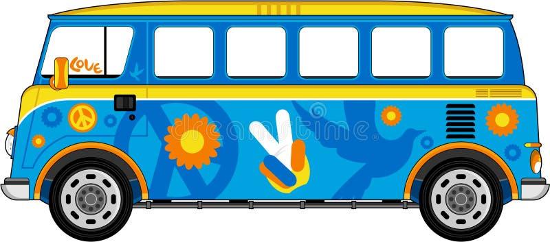 Autobús del hippie de la historieta ilustración del vector