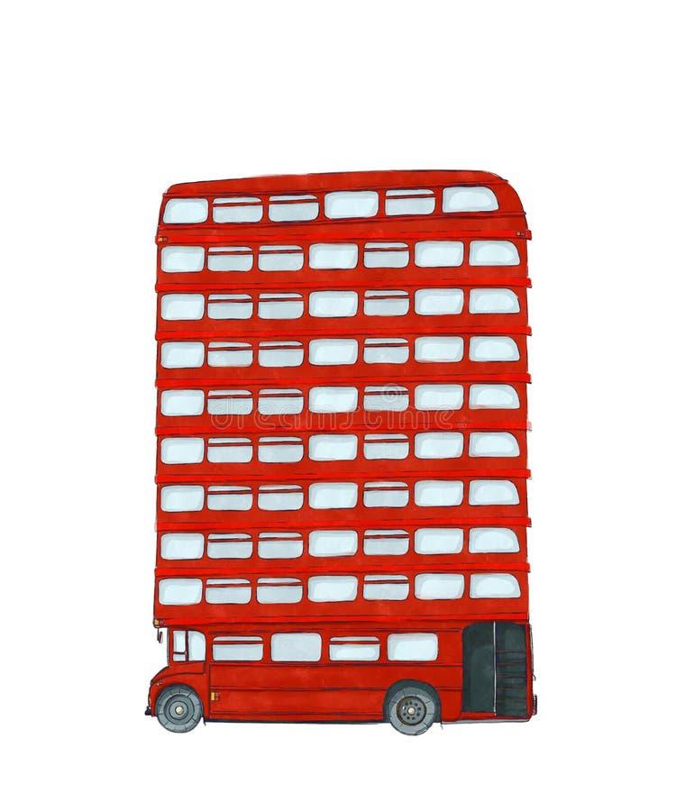 Autobús del inglés de la acuarela ilustración del vector