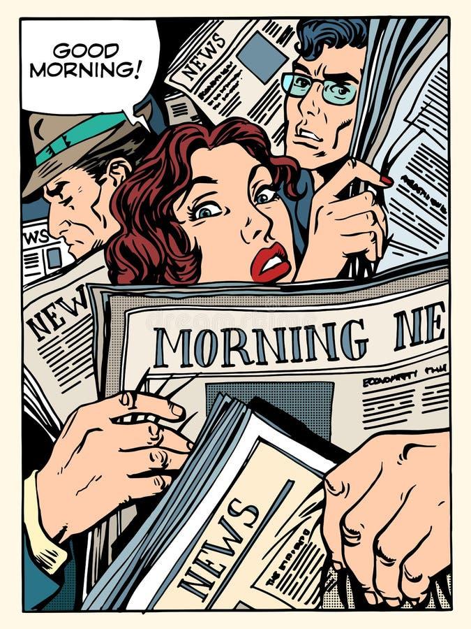 Autobús del transporte del metro de la muchedumbre de la prensa de las noticias de la mañana stock de ilustración