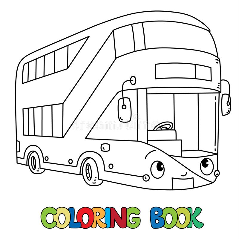 Autobús divertido de Londres con los ojos Libro de colorante stock de ilustración