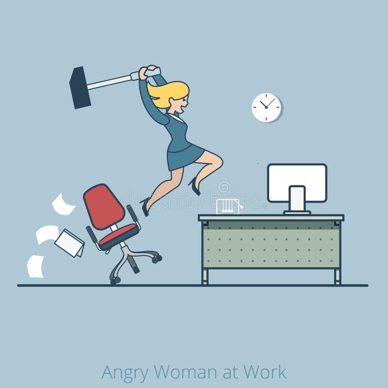 Autobús enojado del trabajo de la mujer del desplome del hummer plano linear del escritorio stock de ilustración