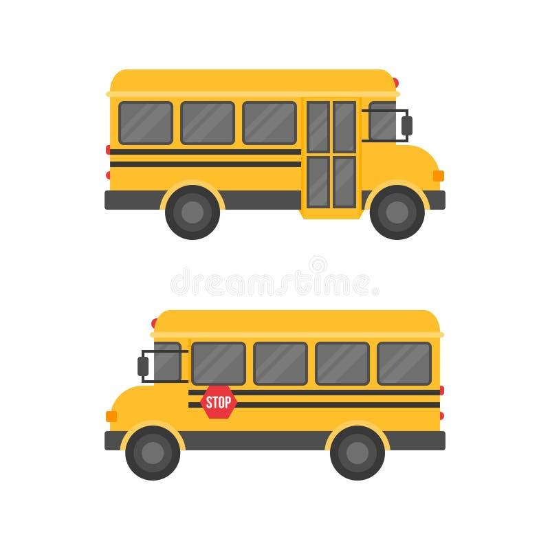 Autobús escolar aislado en el fondo blanco, icono plano del diseño de nuevo a concepto de la escuela libre illustration