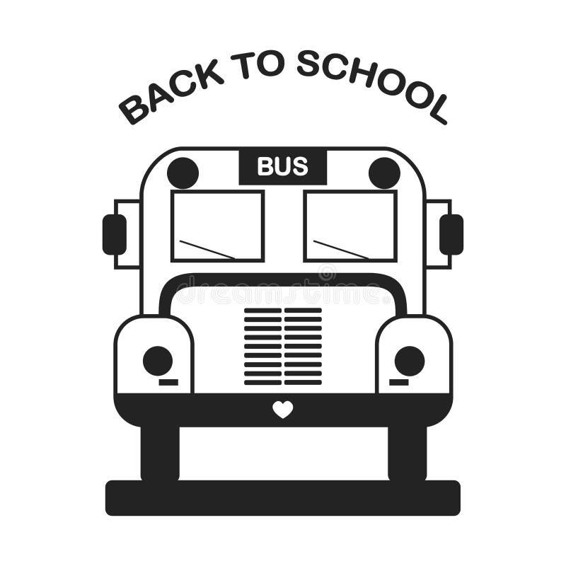 Autobús escolar amarillo en vista delantera aislado en el fondo blanco Educación, concepto de enseñanza Diseño plano de la histor libre illustration