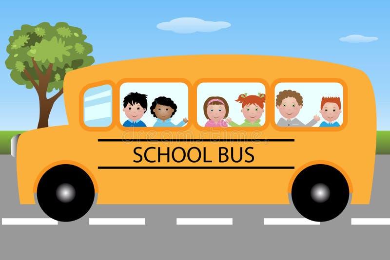 Autobús escolar con los niños stock de ilustración