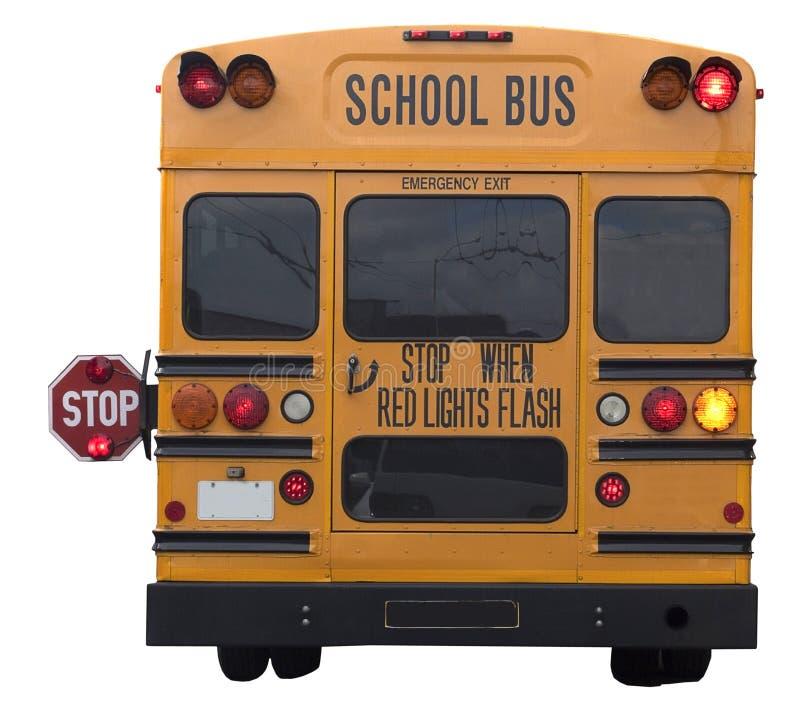 Autobús escolar de la vista posterior fotografía de archivo libre de regalías