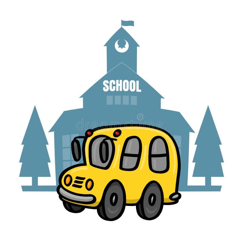 Autobús escolar delante del ejemplo de la escuela stock de ilustración