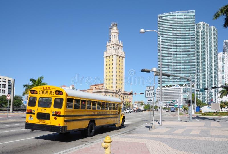 Autobús escolar en Miami fotos de archivo libres de regalías