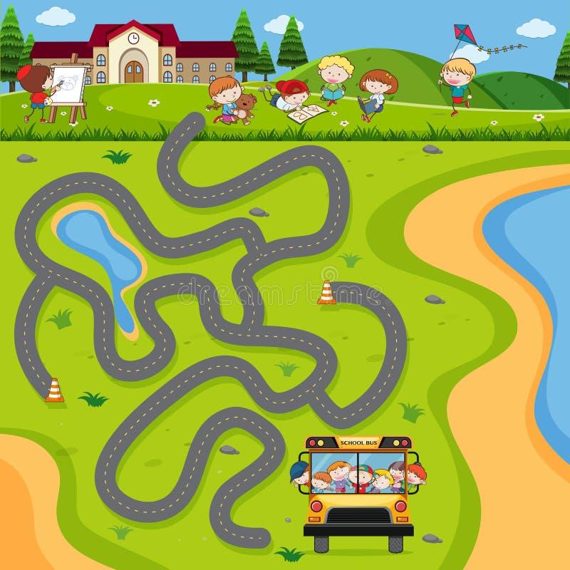 Autobús escolar Maze Puzzle Game ilustración del vector