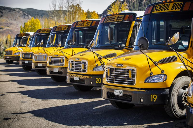 Autobús escolar parqueado y que se coloca en fila imágenes de archivo libres de regalías
