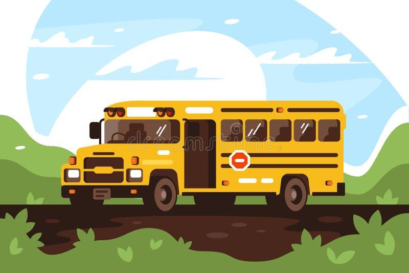 Autobús escolar vacío en el viaje, excursión ilustración del vector