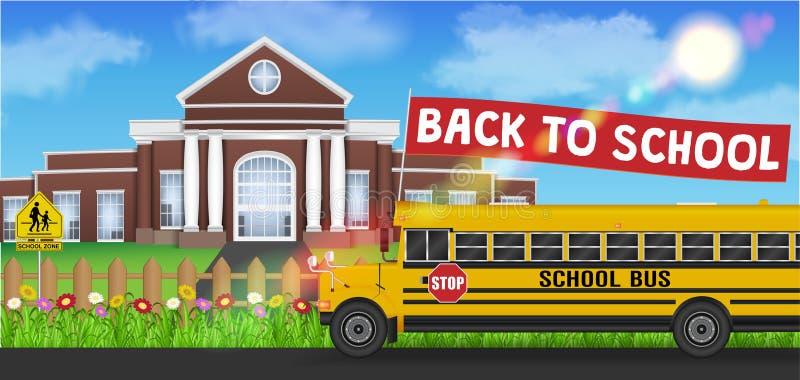 Autobús escolar y de nuevo al frente de la bandera de la escuela de la escuela libre illustration