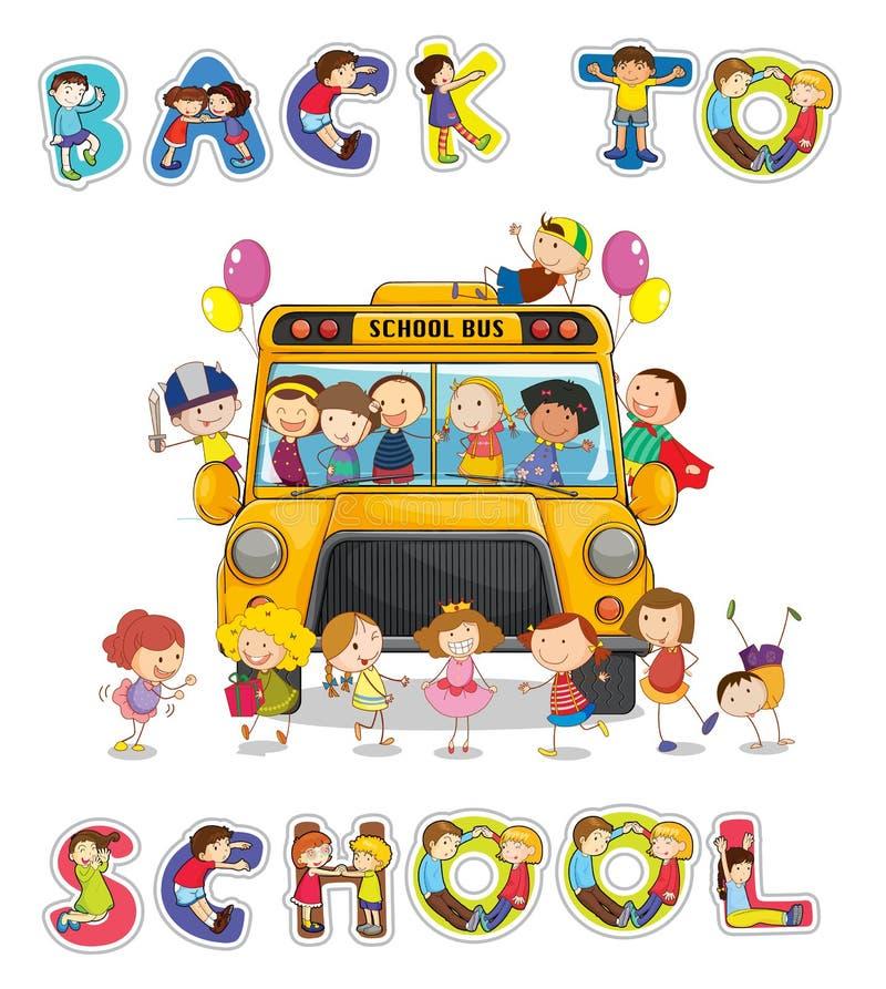 Autobús escolar y palabra inglesa de nuevo a escuela ilustración del vector
