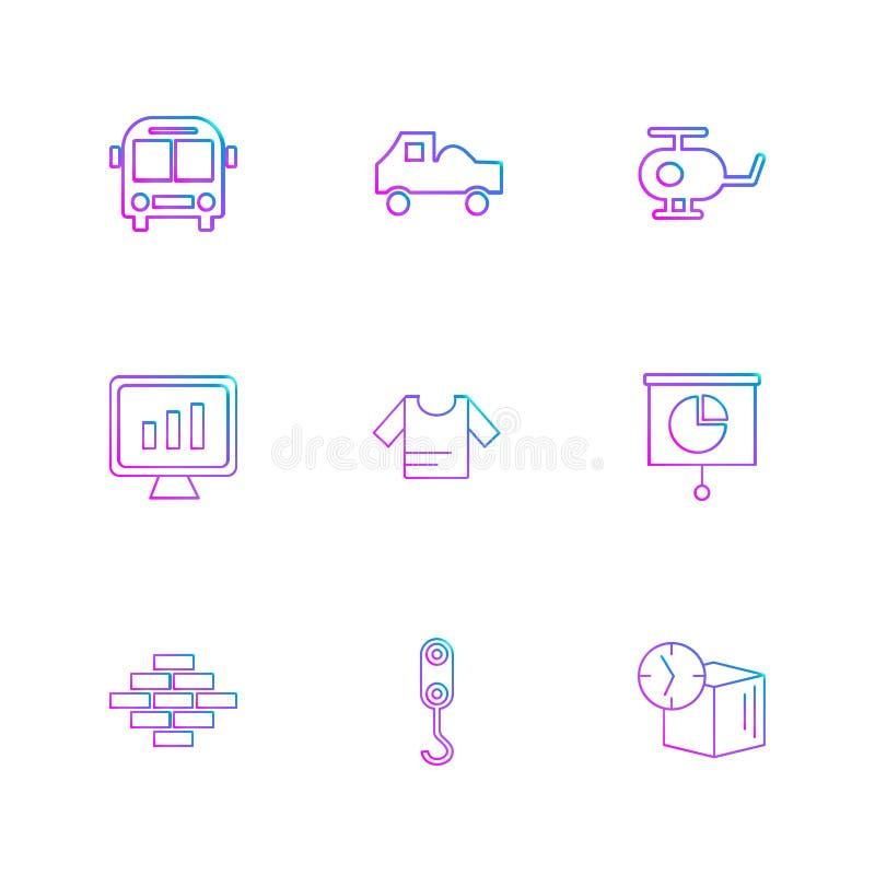 autobús, helicóptero, camión, camisa, ladrillos, cubo, transporte, t stock de ilustración