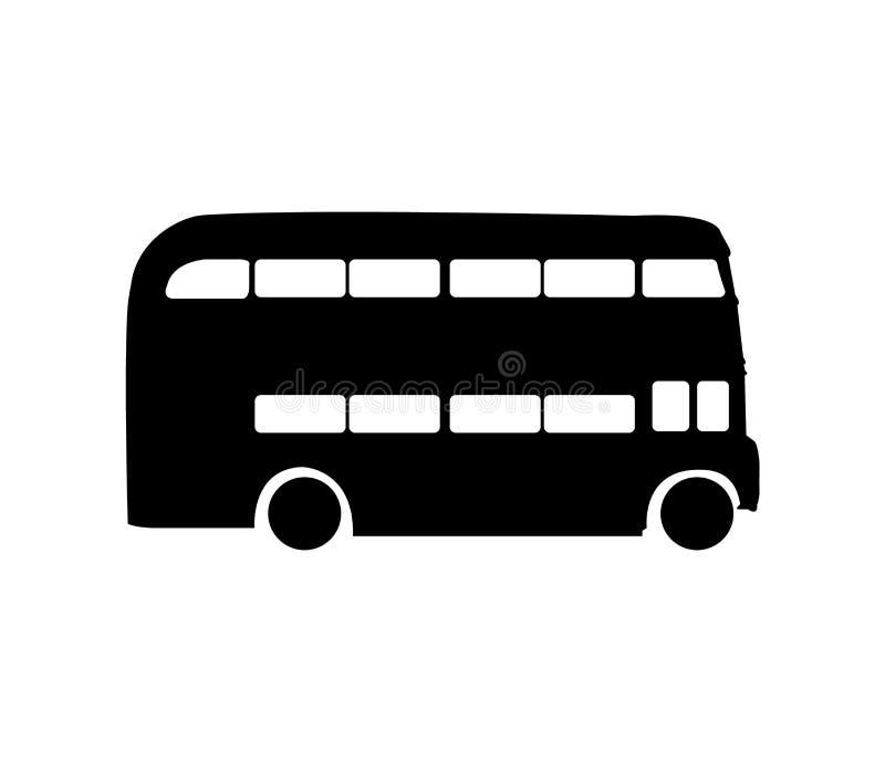Autobús negro del autobús de dos pisos aislado en el fondo blanco ilustración del vector