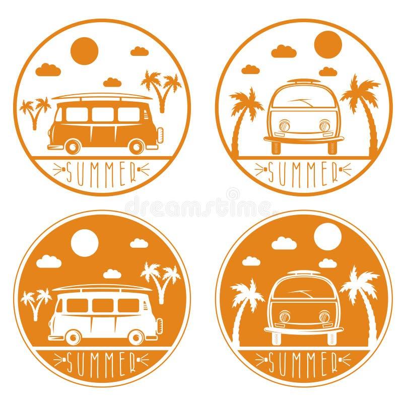 Autobús retro con vector de la tabla hawaiana libre illustration