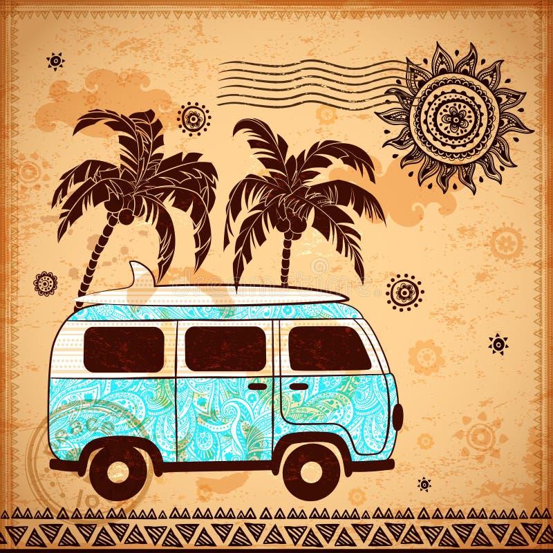 Autobús retro del viaje con el fondo del vintage ilustración del vector