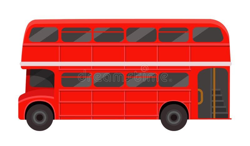 Autobús rojo moderno del autobús de dos pisos del pasajero de Londres Transporte público británico ilustración del vector
