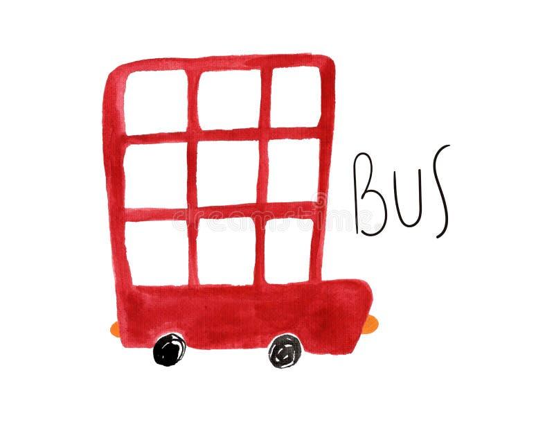 Autobús rojo pintado a mano del aguazo ilustración del vector