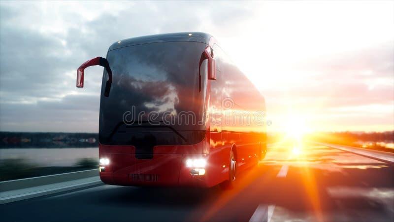 Autobús rojo turístico en el camino, carretera Conducción muy rápida Concepto turístico y del viaje representación 3d ilustración del vector