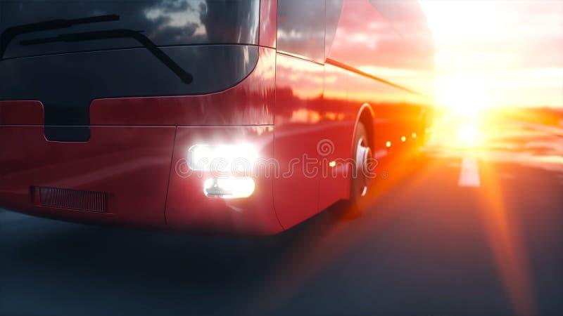 Autobús rojo turístico en el camino, carretera Conducción muy rápida Concepto turístico y del viaje representación 3d stock de ilustración