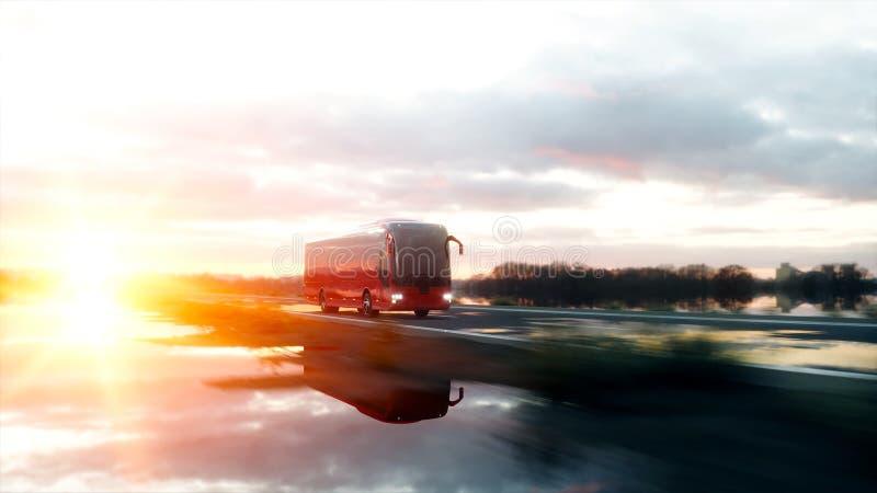 Autobús rojo turístico en el camino, carretera Conducción muy rápida Concepto turístico y del viaje representación 3d fotografía de archivo