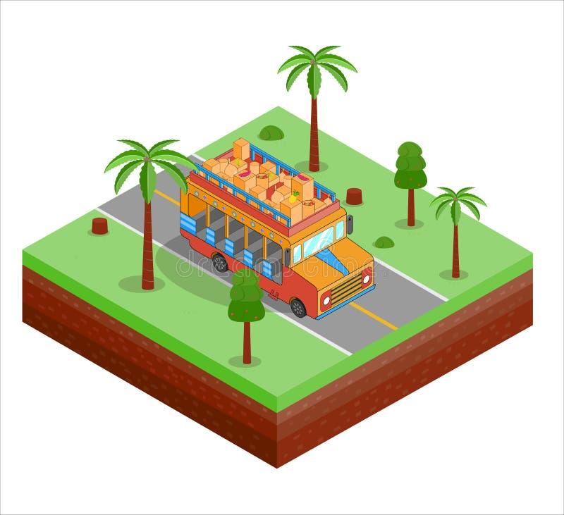 Autobús tipical isométrico de Chiva de Suramérica libre illustration
