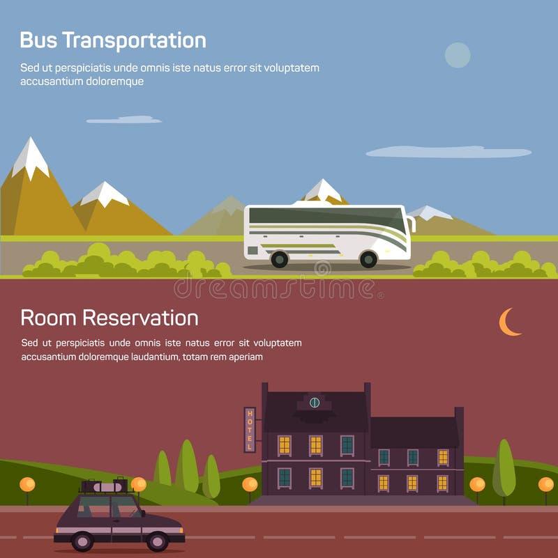 Autobús y coche con el equipaje, equipaje en el camino cerca de las montañas stock de ilustración