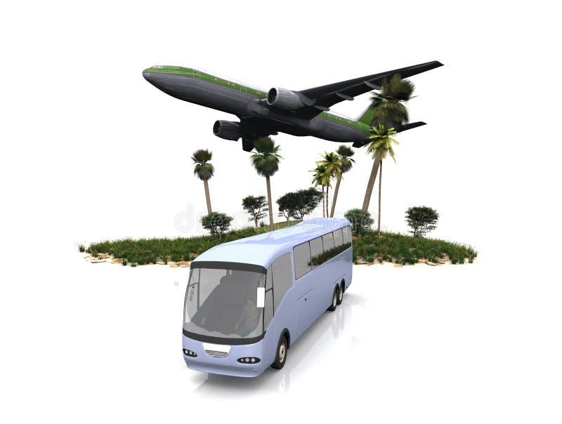 Autobús y mosca ilustración del vector